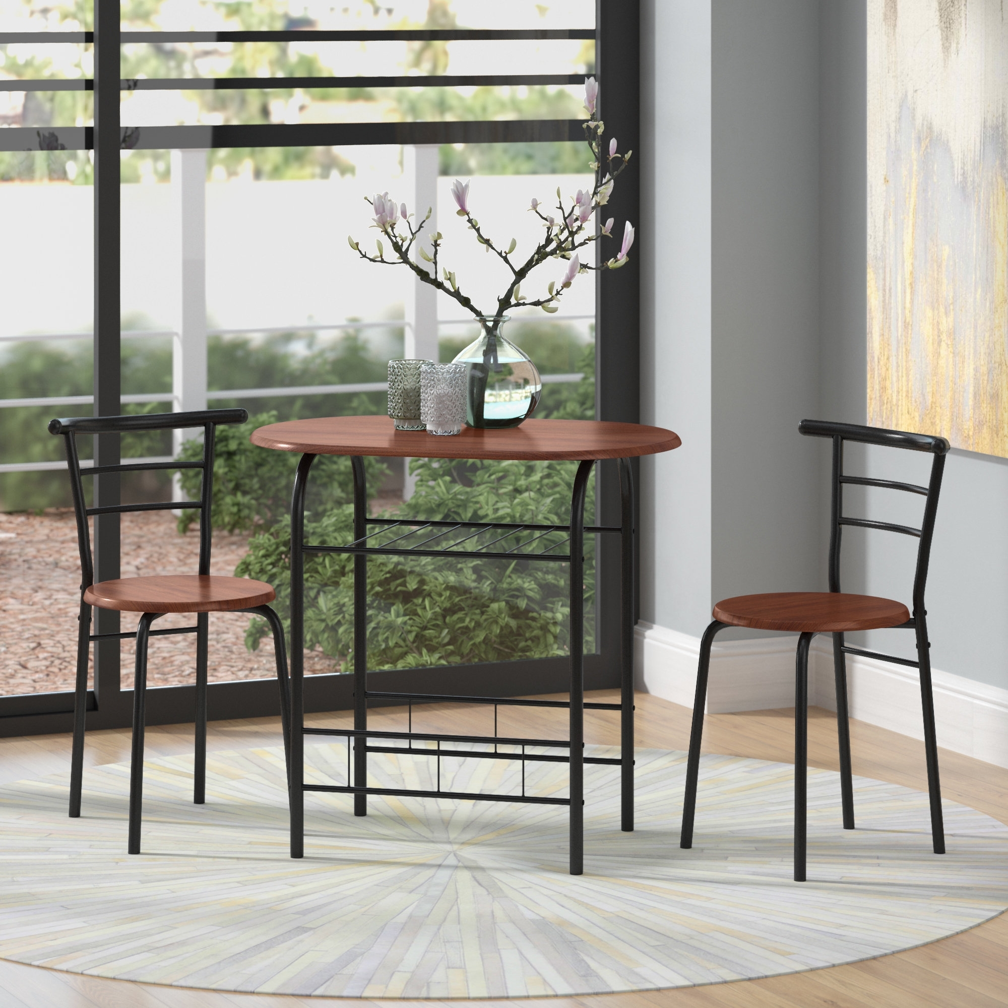 Well Liked Zipcode Design Volmer 3 Piece Compact Dining Set & Reviews (View 24 of 25)