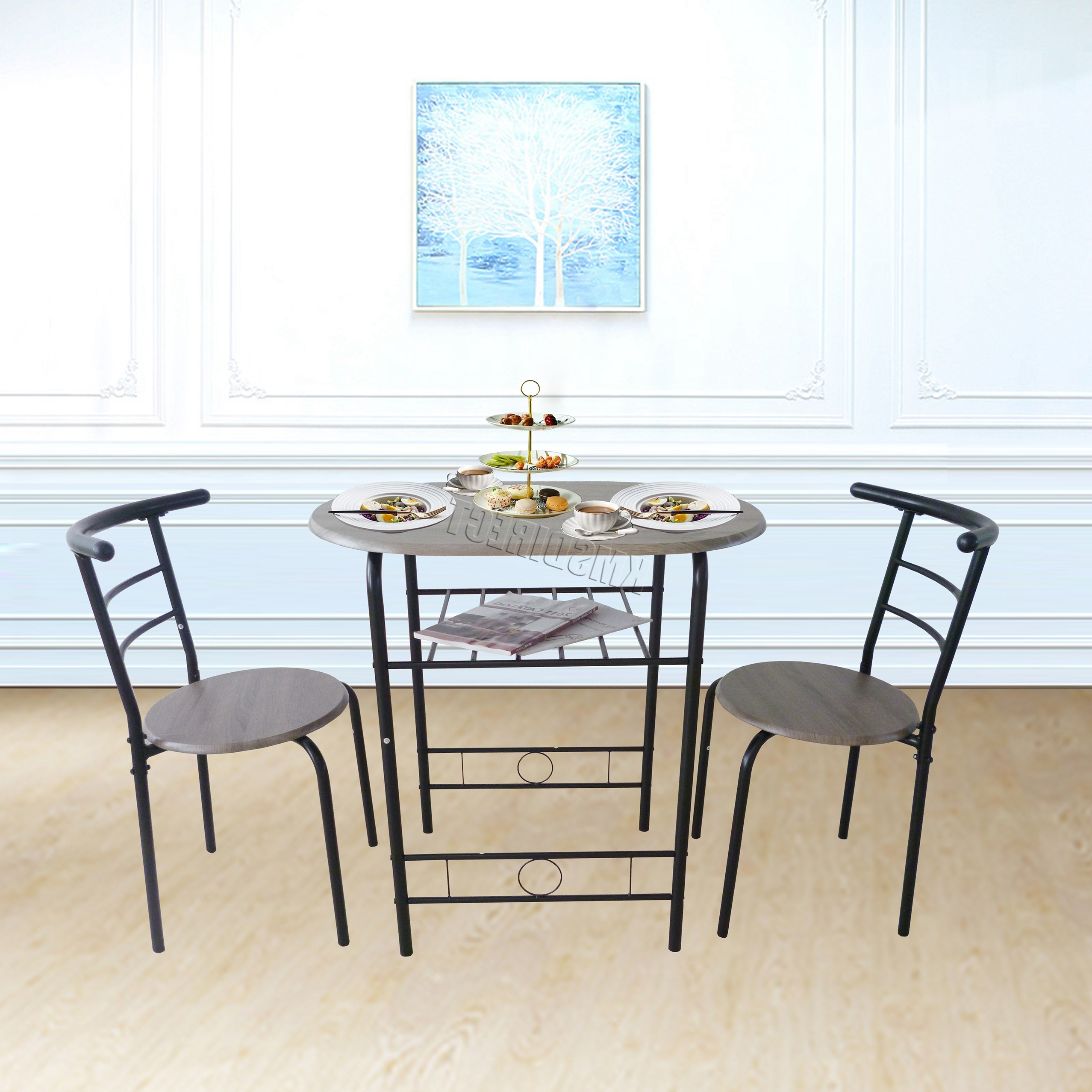 Westwood Compact Dining Table Breakfast Bar 2 Chair Set Metal Mdf Regarding Most Popular Compact Dining Room Sets (View 24 of 25)