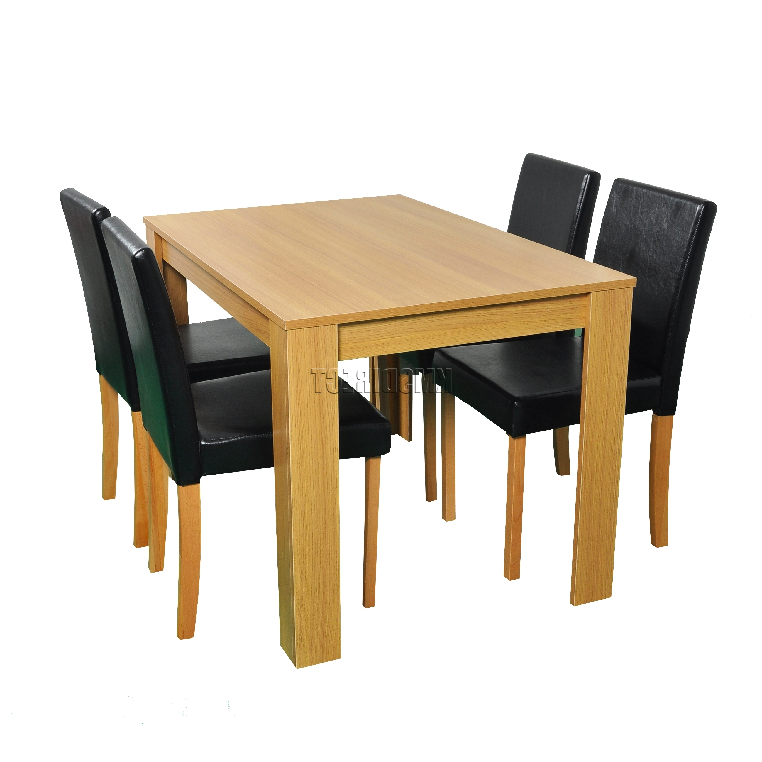 Westwood Wooden Dining Table And 4 Pu Faux Leather Chairs Set Within Favorite Oak Dining Tables And Leather Chairs (View 25 of 25)