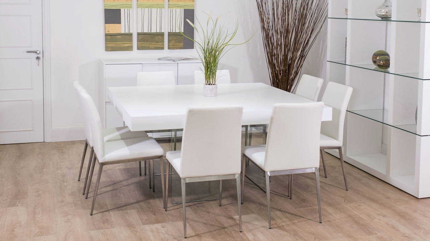 White 8 Seater Dining Tables For 2017 Smartly Seat Square Then Ideas Square Table Together With Opulent (View 23 of 25)