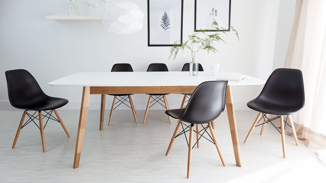 White And Oak Extending Dining Table And Eames Style Chairs – Youtube For Trendy Extendable Dining Tables 6 Chairs (View 25 of 25)