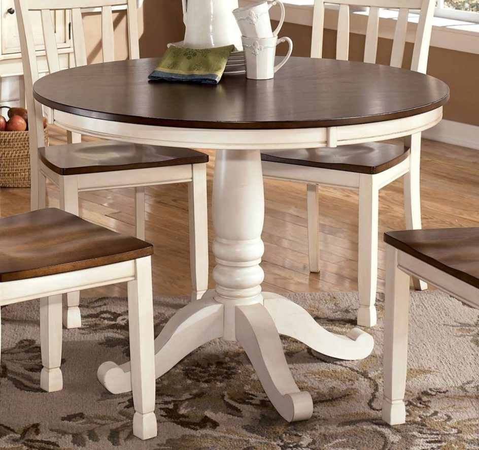 White Circular Dining Tables In Most Current Wonderful Distressed Round Dining Table 19 Kitchen Shouldpaint My (View 19 of 25)