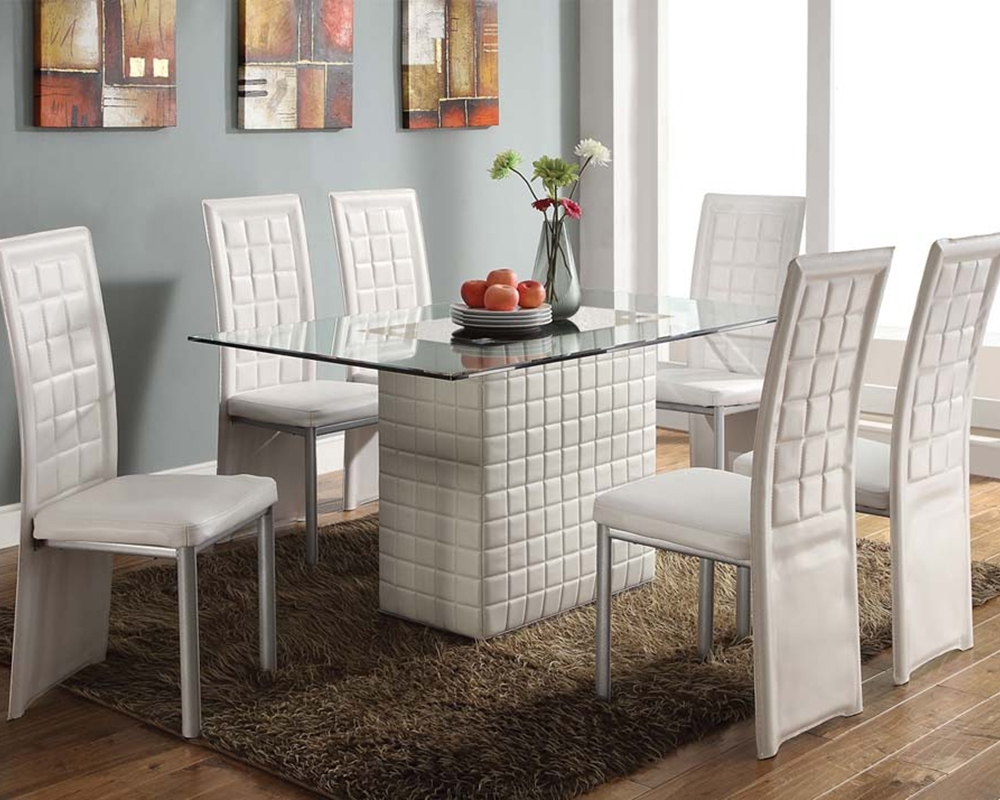 White Dining Set Abbieacme Furniture Ac70718Set Regarding Most Up To Date White Dining Sets (View 21 of 25)