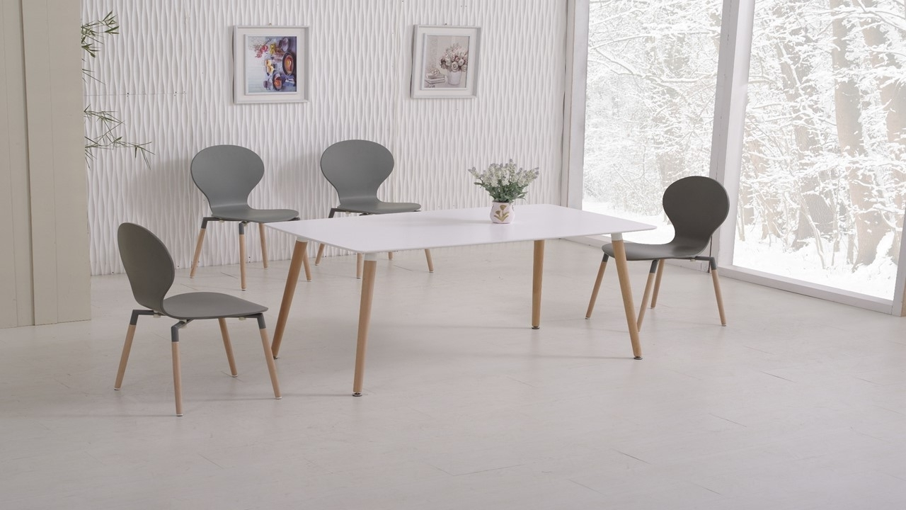 White Dining Table And 6 Grey Chairs Homegenies For 2017 White Dining Tables With 6 Chairs (View 19 of 25)