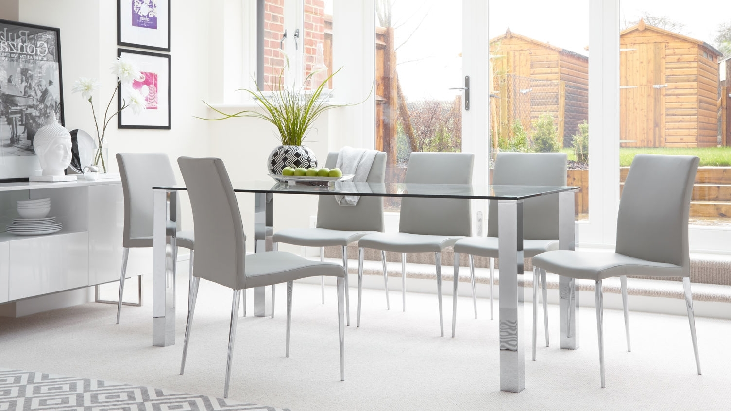 White Dining Tables 8 Seater Regarding Favorite Glass Top Dining Table With 8 Chairs – Glass Decorating Ideas (View 16 of 25)