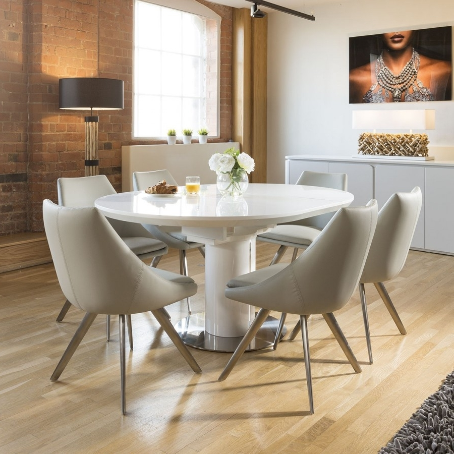 White Dining Tables With 6 Chairs With Regard To 2017 Extending Round Oval Dining Set White Gloss Table 6 Ice Grey Chairs (View 23 of 25)