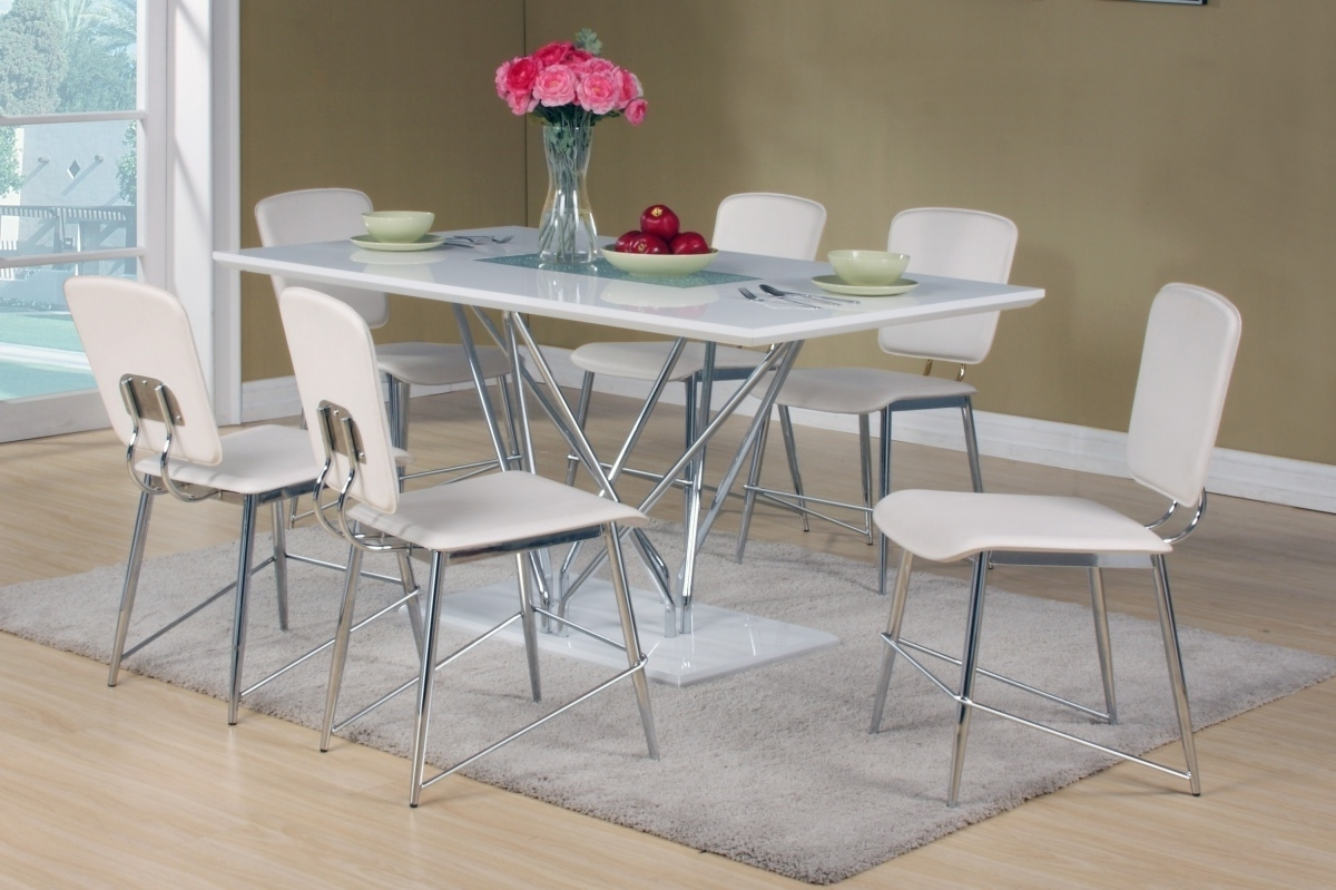 White Dining Tables With 6 Chairs With Regard To Newest White High Gloss Dining Table And 6 Matching Chairs – Homegenies (View 25 of 25)