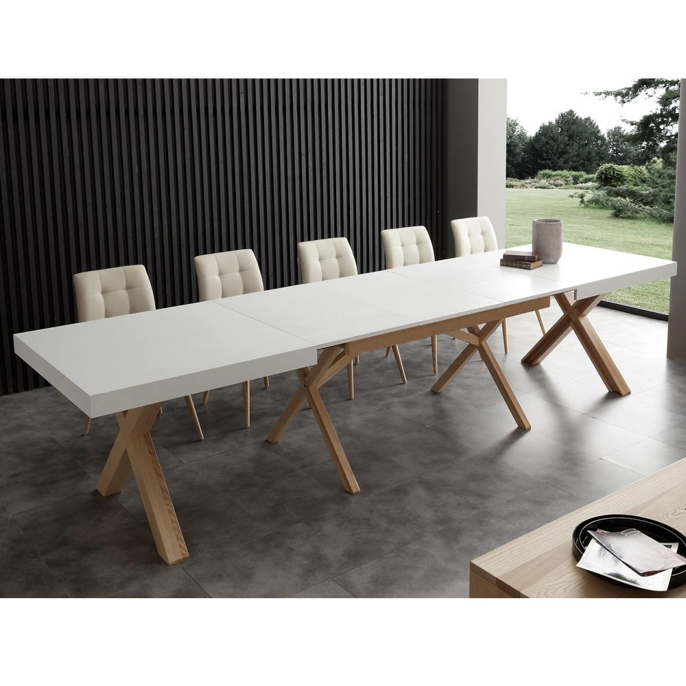 White Extendable Dining Table Rico, With Solid Wood Frame Within Famous White Extendable Dining Tables (View 12 of 25)