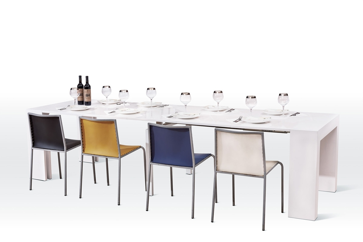 White Extendable Dining Tables And Chairs In Latest Versus Doreen Modern White Extendable Dining Table (View 20 of 25)