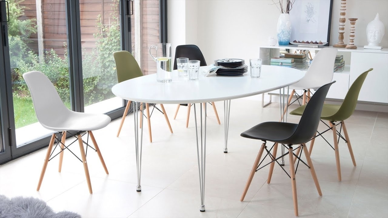 White Extending Dining Table And Eames Style Dining Chairs – Youtube Regarding Popular Extendable Dining Tables 6 Chairs (View 14 of 25)