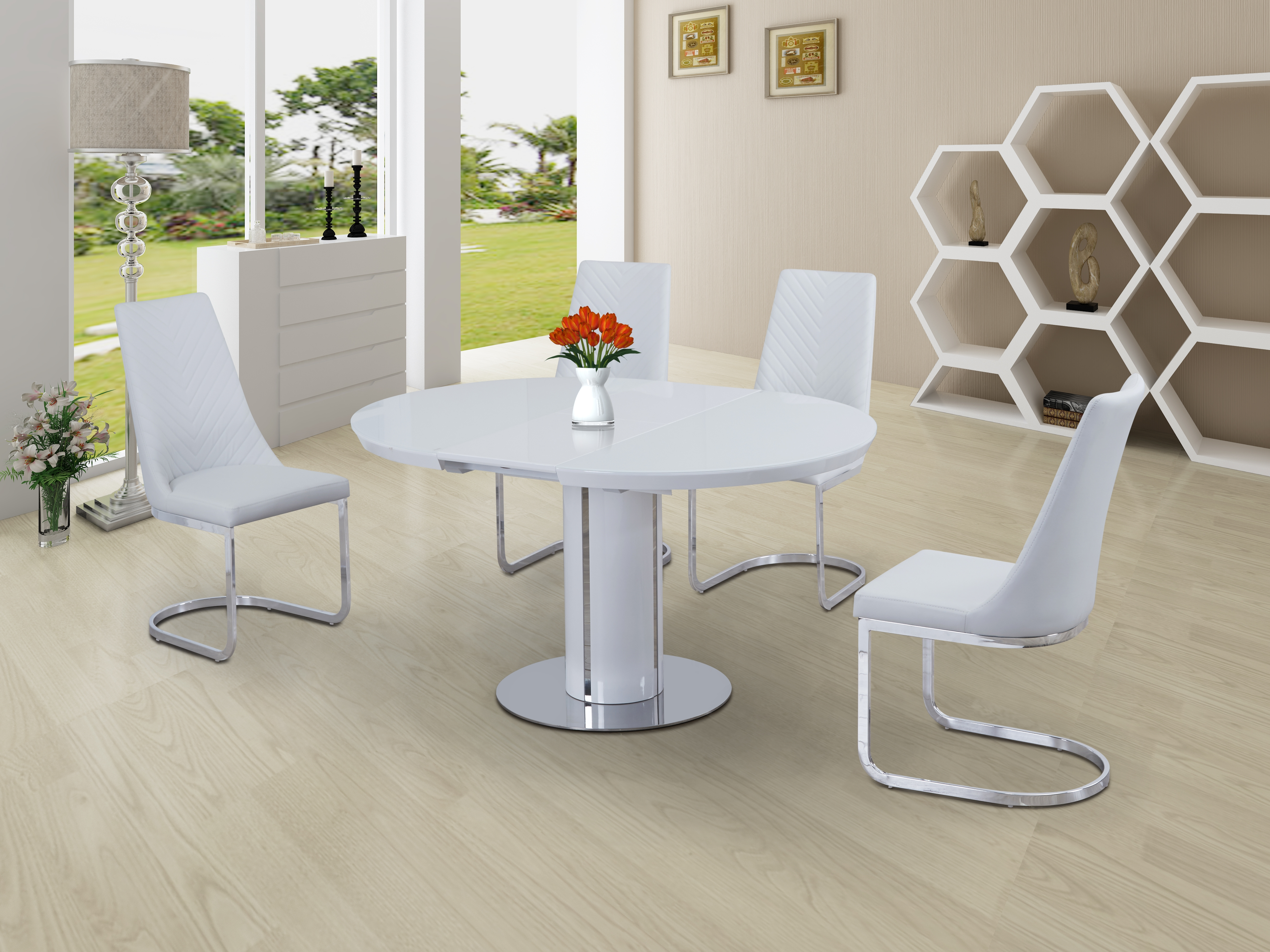White Extending Dining Tables And Chairs Intended For Best And Newest Orban Round White Extending Dining Table (View 19 of 25)