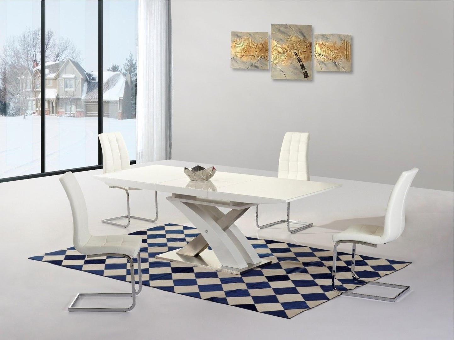 White Extending Gloss Dining Table And 4 Chairs – Homegenies Inside Fashionable White Gloss Dining Tables Sets (View 7 of 25)