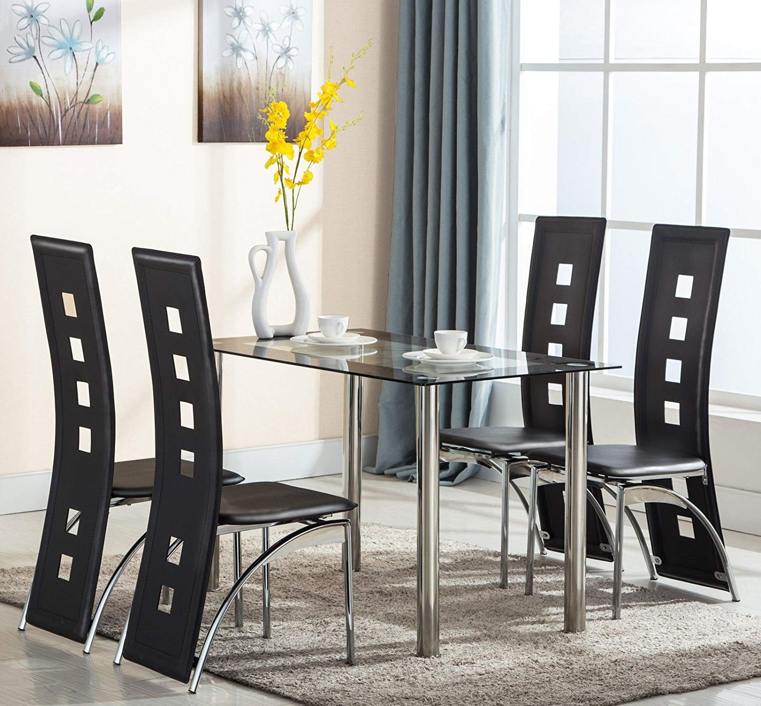 White Glass Dining Tables And Chairs Pertaining To Well Known Mecor Glass Dining Table And Faux Leather Chairs Dining Kitchen (View 19 of 25)