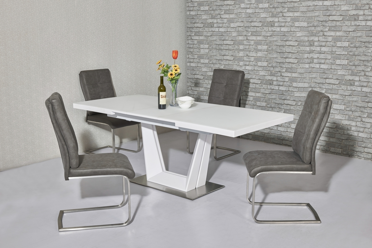 White Glass Dining Tables And Chairs Within Preferred Matt White Glass Dining Table And 8 Chairs – Homegenies (View 25 of 25)