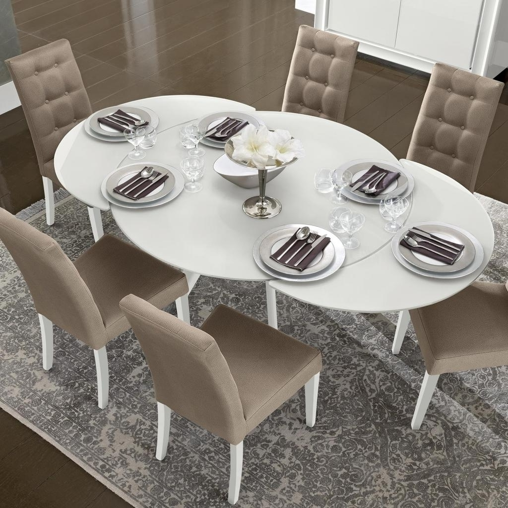 White Glass Extending Dining Table (View 24 of 25)