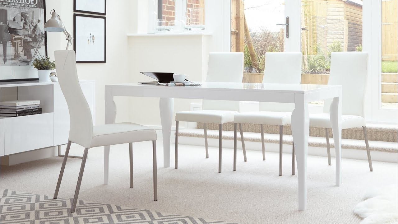 White Gloss 6 Seater Dining Table And Real Leather Dining Chairs Intended For Most Recently Released Gloss White Dining Tables (View 24 of 25)