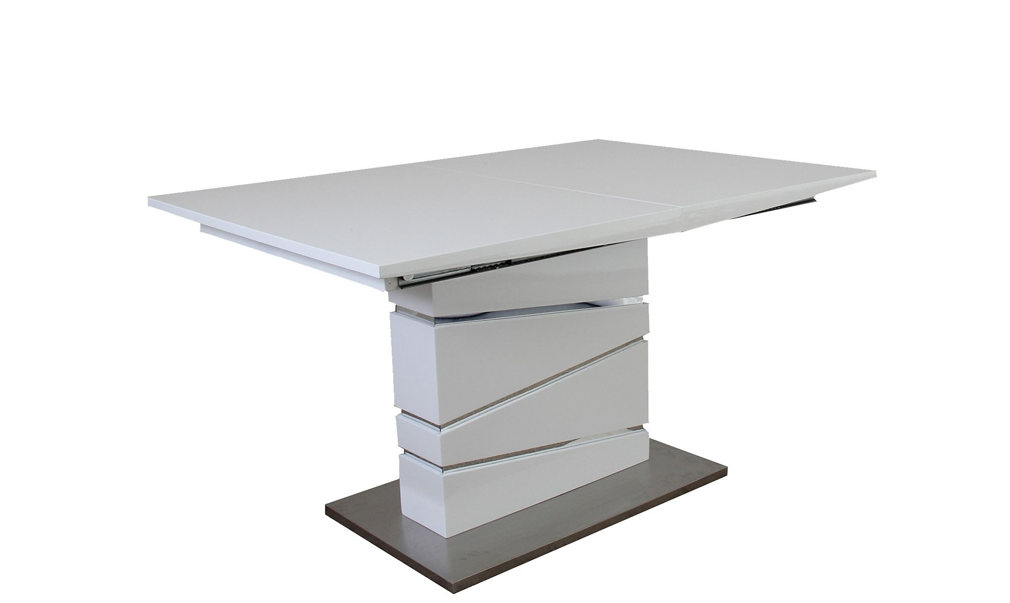 White Gloss And Glass Dining Tables With Regard To Trendy Artemis – 130Cm Extending Metal Dining Table – Fishpools (View 22 of 25)
