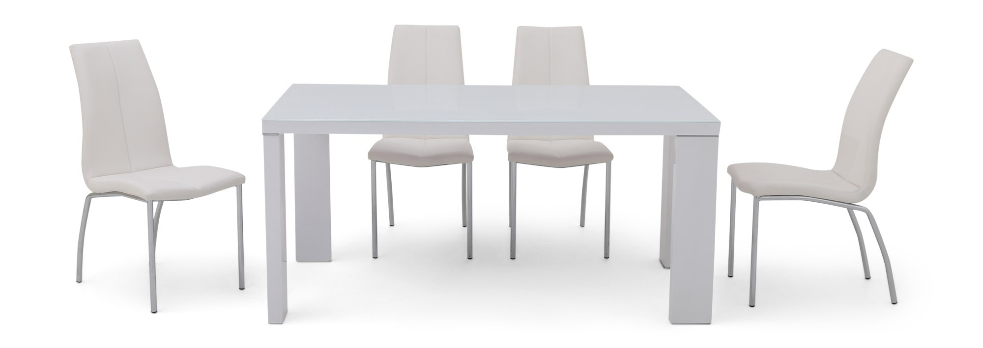 White Gloss Dining Room Furniture Inside Recent Lucille White Gloss With Glass Top Dining Table (View 25 of 25)