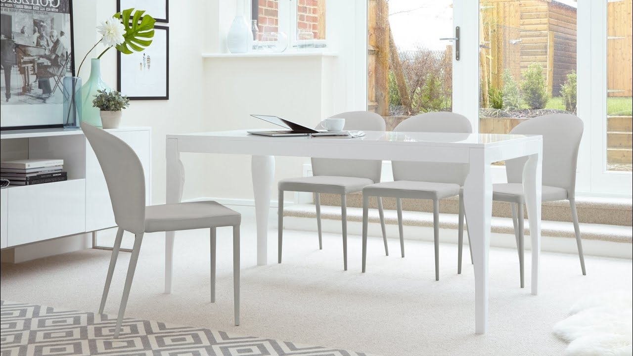 White Gloss Dining Room Tables Regarding Most Current 6 Seater White Gloss Dining Table And Stackable Dining Chairs – Youtube (View 9 of 25)