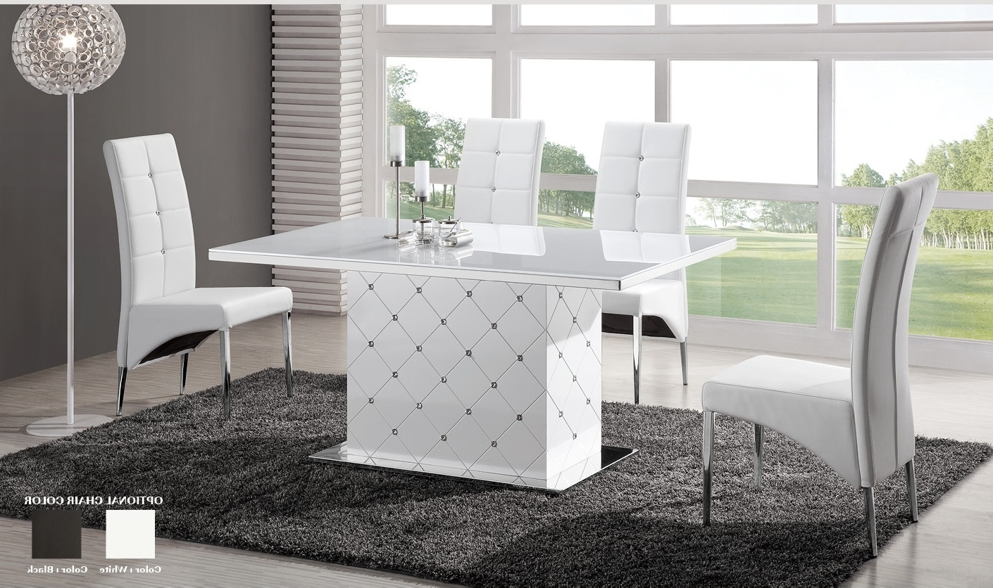 White Gloss Dining Table And 6 Chairs – Strawberryperl Intended For Fashionable Shiny White Dining Tables (View 7 of 25)