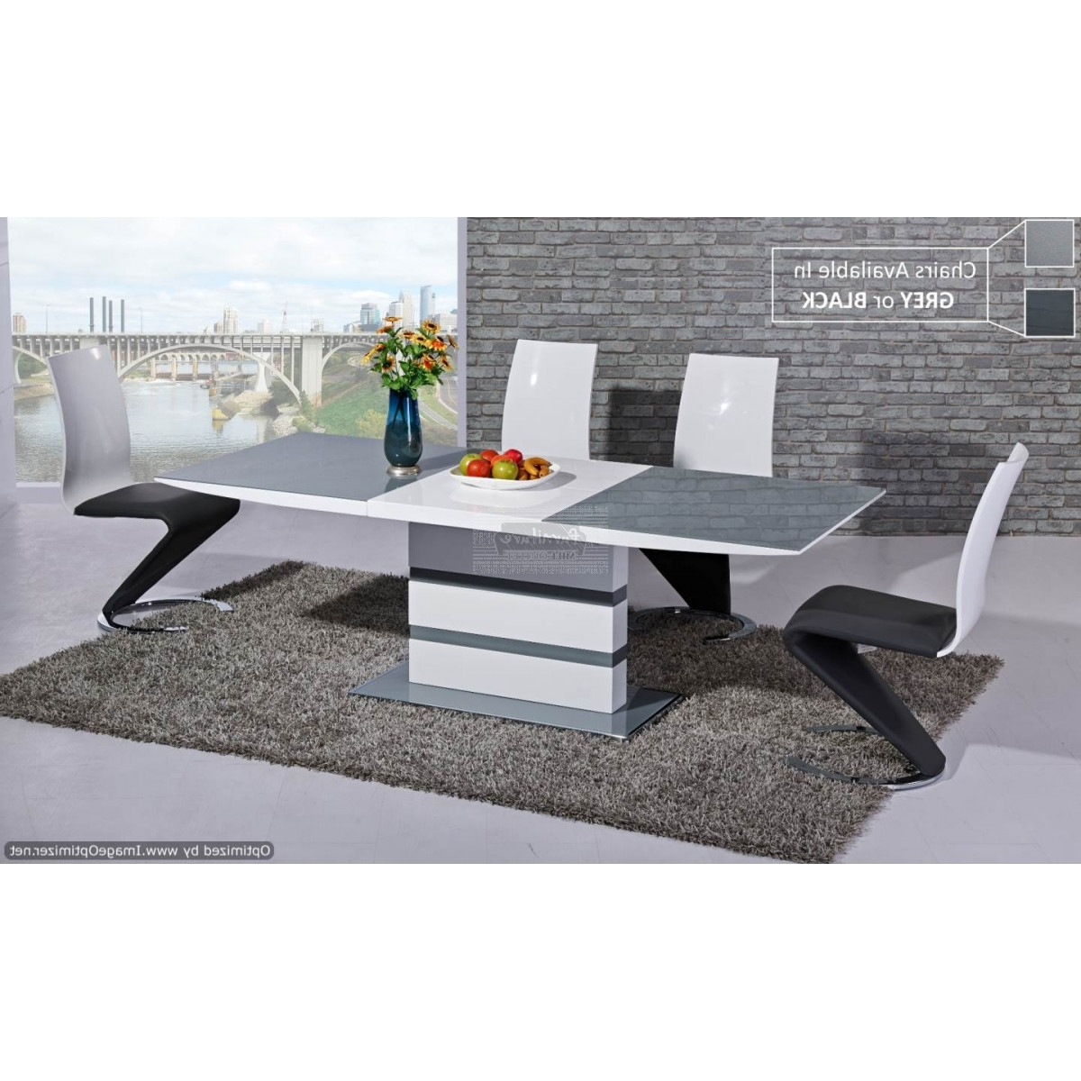 White Gloss Dining Tables 120Cm In Most Current Arctic Grey Glass Top And White Gloss Extending Dining Table  120Cm (View 16 of 25)