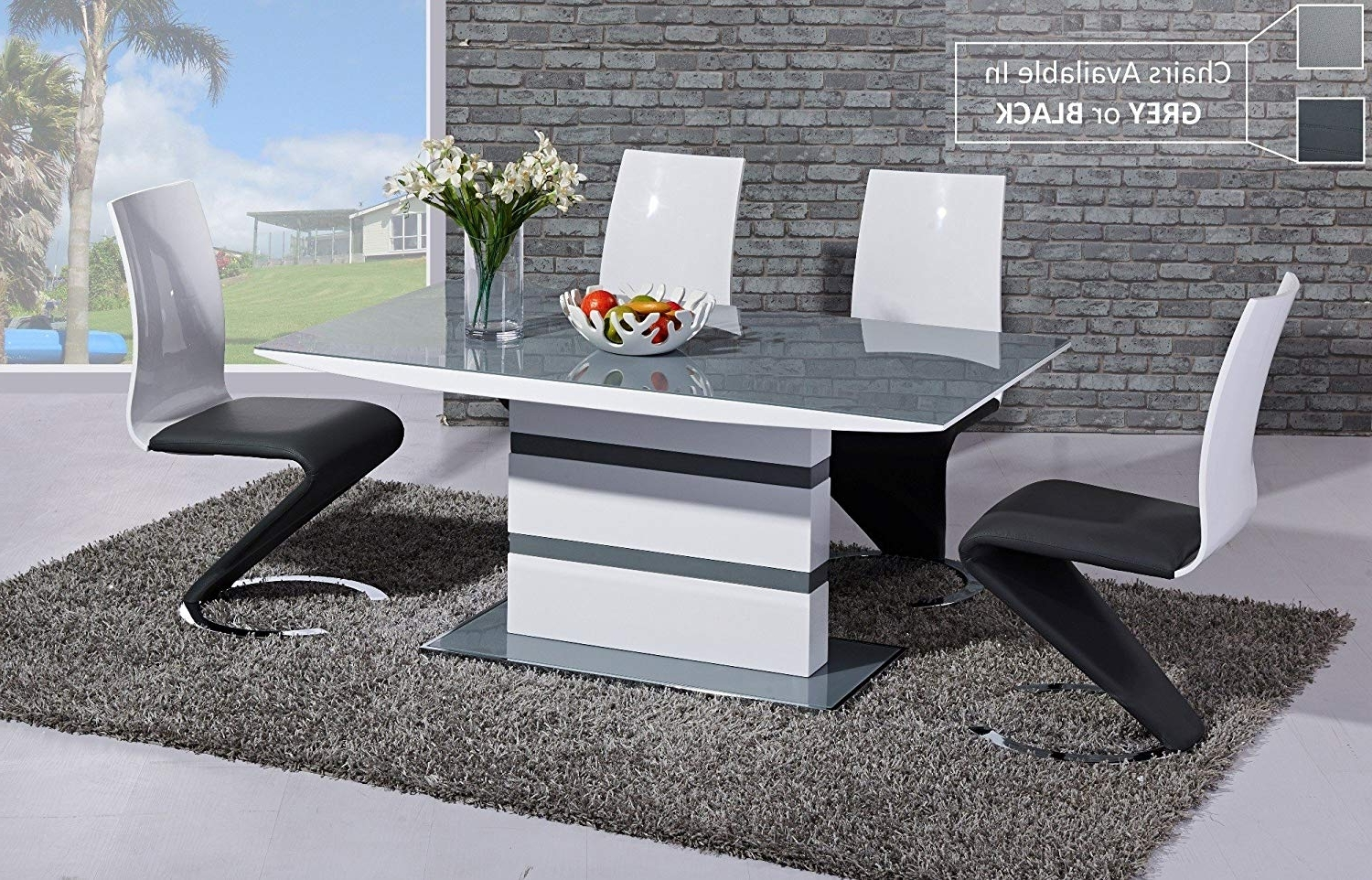White Gloss Dining Tables 120Cm Within Famous Furniture Mill Outlet Arctic High Gloss Dining Table In Grey Glass (View 23 of 25)