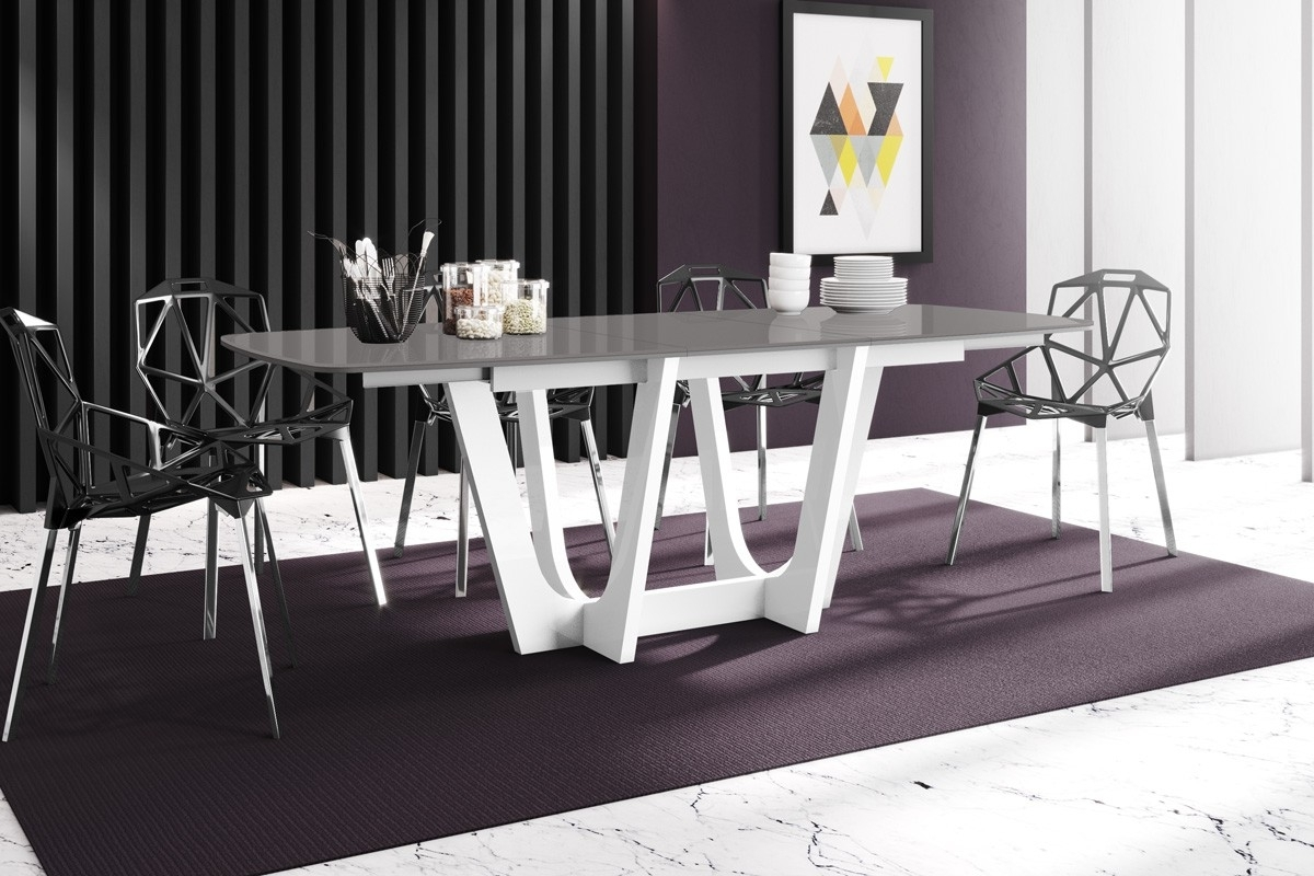 White Gloss Dining Tables 140Cm Inside Well Liked Noble White Gloss Extendable Dining Table Grey Top 140Cm (View 20 of 25)