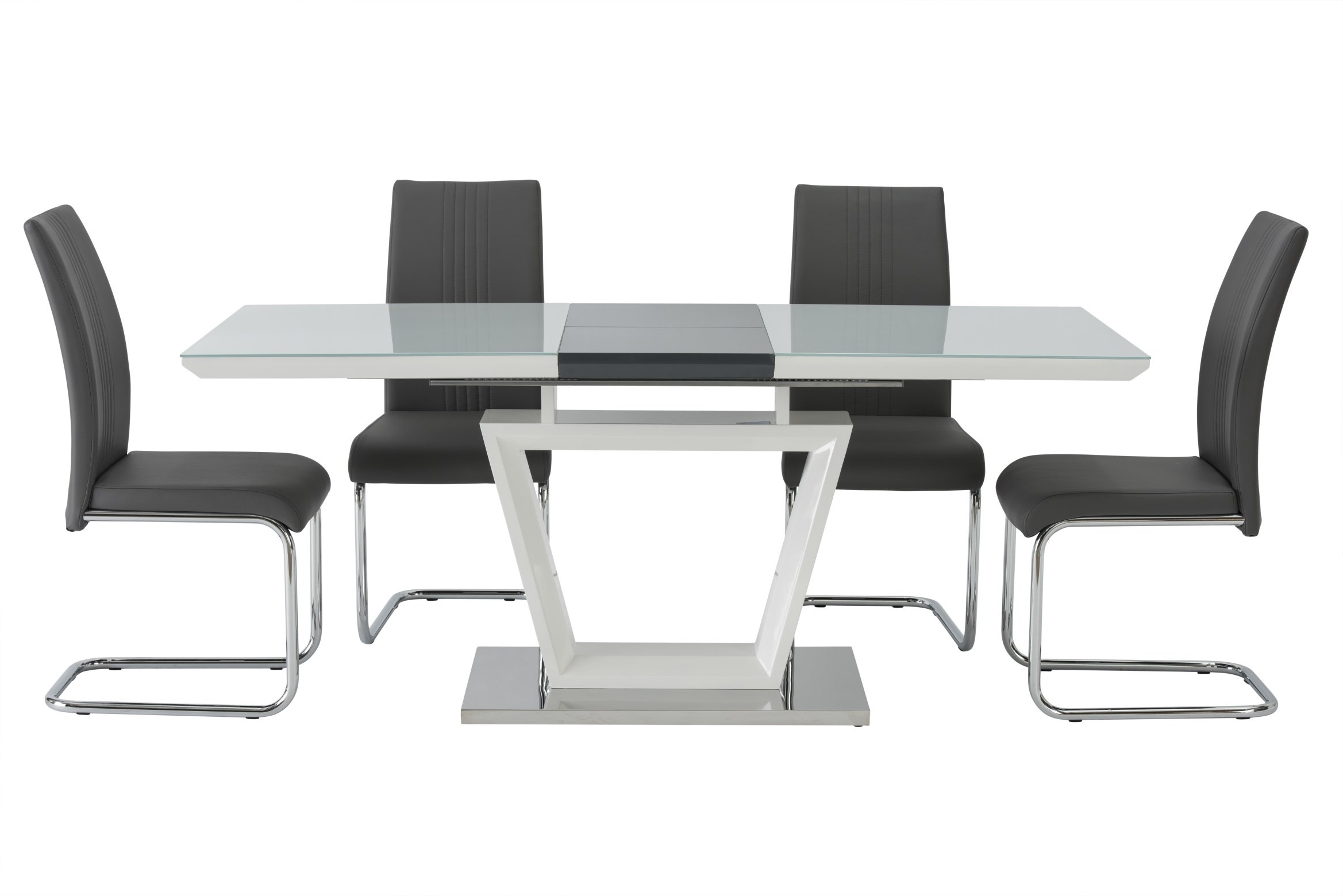 White Gloss Dining Tables 140Cm Regarding Preferred Arden High Gloss White With Grey Extendable Dining Table – With Or Without  Chairs (View 10 of 25)
