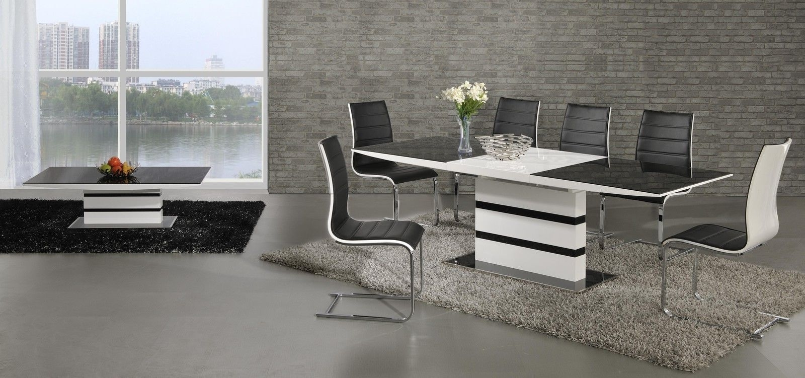White Gloss Dining Tables 140Cm Throughout Current Ga K2 Designer Extending Black White 160 220 Cm Dining Set 4 / 6 Encore  Chairs (View 23 of 25)