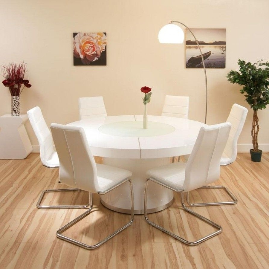White Gloss Dining Tables And 6 Chairs For Most Up To Date Round Dining Set White Gloss Table Plus 6 White Chairs Lazy Within (View 21 of 25)