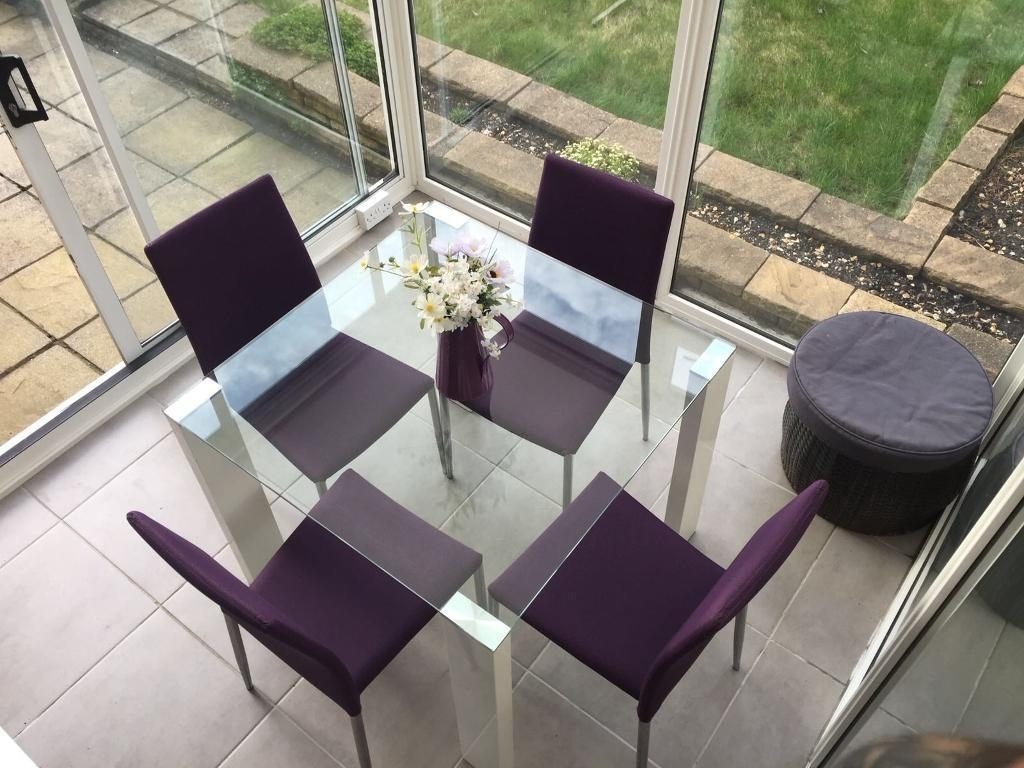 White Gloss / Glass Square Dining Table 4 Purple Chairs (View 23 of 25)