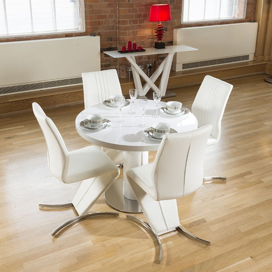 White Gloss Round Extending Dining Tables Inside Most Recently Released Dining Set White Gloss Round 1.05  (View 11 of 25)