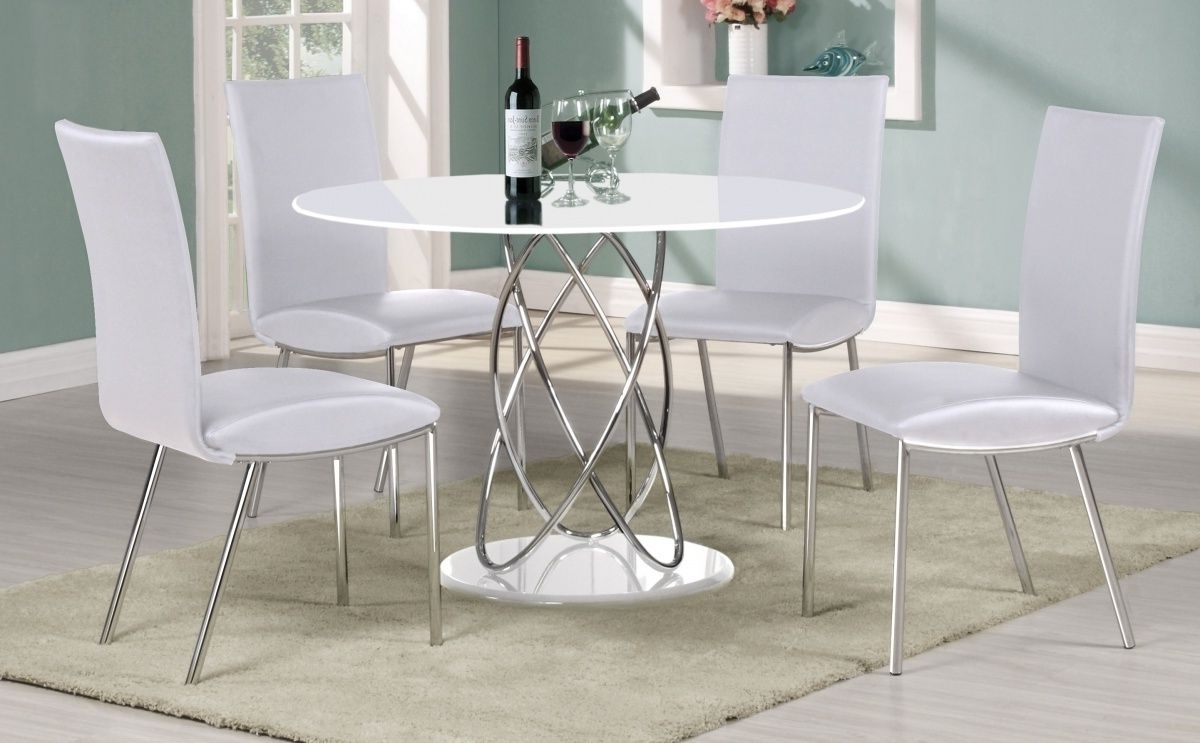 White Gloss Round Kitchen Table And Chairs Starrkingschool With With Regard To Fashionable High Gloss Round Dining Tables (View 9 of 25)