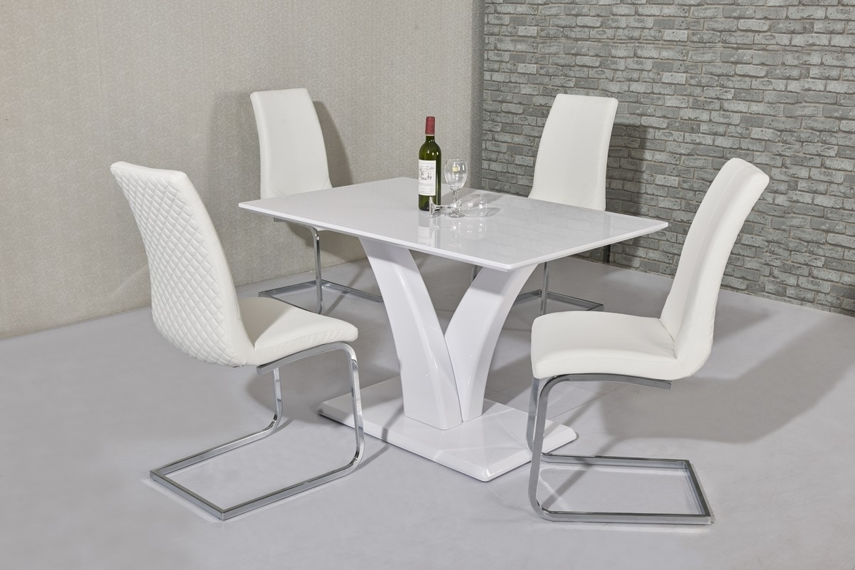 White High Gloss Dining Chairs Intended For Popular Wow Slim High Gloss White 120 Cm Dining Table (View 18 of 25)