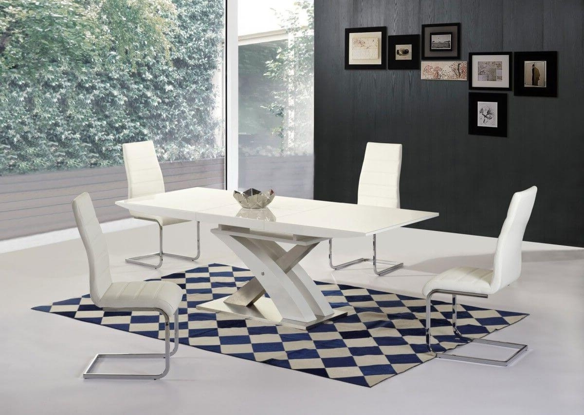White High Gloss Dining Chairs Pertaining To Best And Newest Mayfair Xo White High Gloss Big Extending Dining Table And 6 Arora (View 21 of 25)