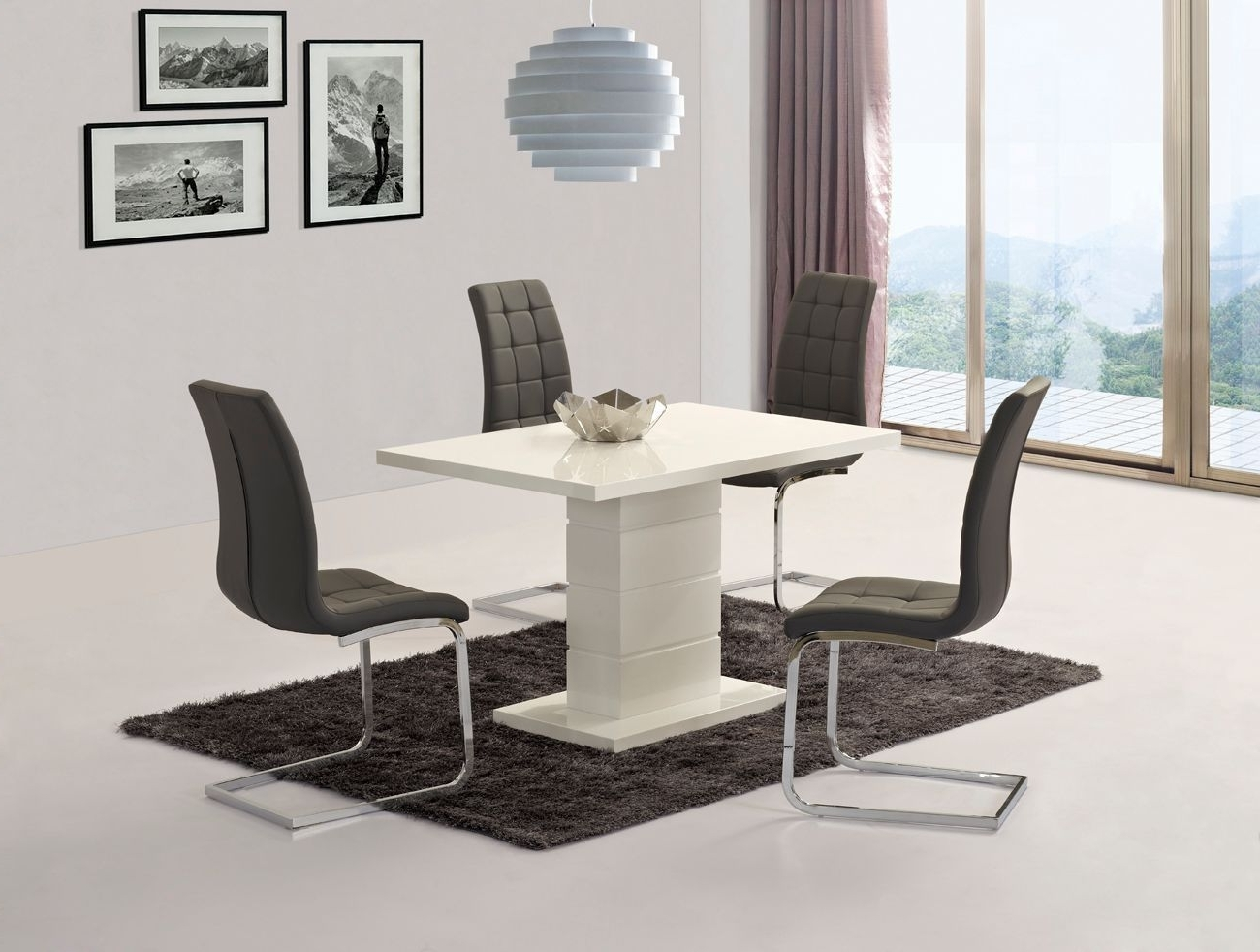 White High Gloss Dining Set With 6 Grey Chairs – Homegenies Pertaining To Popular White High Gloss Dining Chairs (View 24 of 25)