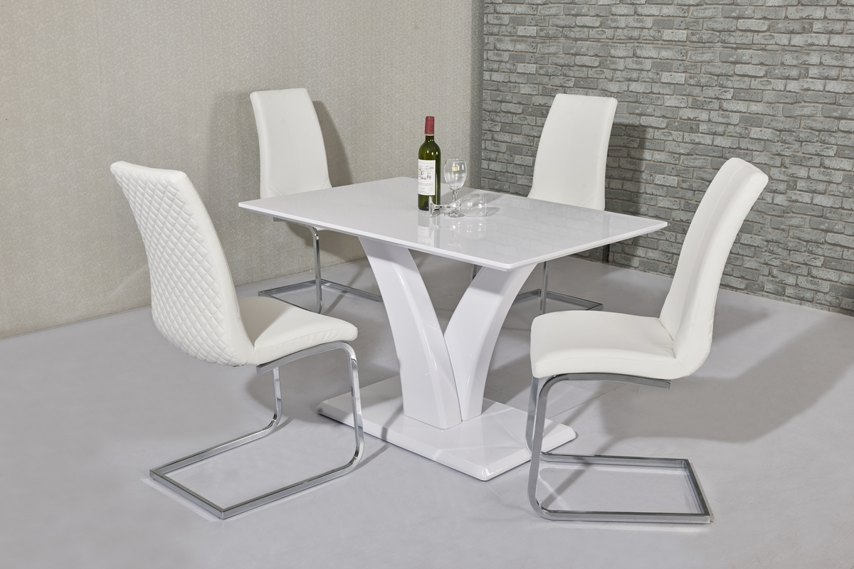 White High Gloss Dining Table 4 Seater Set – Homegenies With Well Known Gloss Dining Set (View 4 of 25)