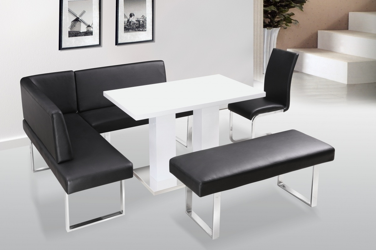 White High Gloss Dining Table Chairs With Bench Set Black Outdoor With Most Current Gloss White Dining Tables And Chairs (View 25 of 25)