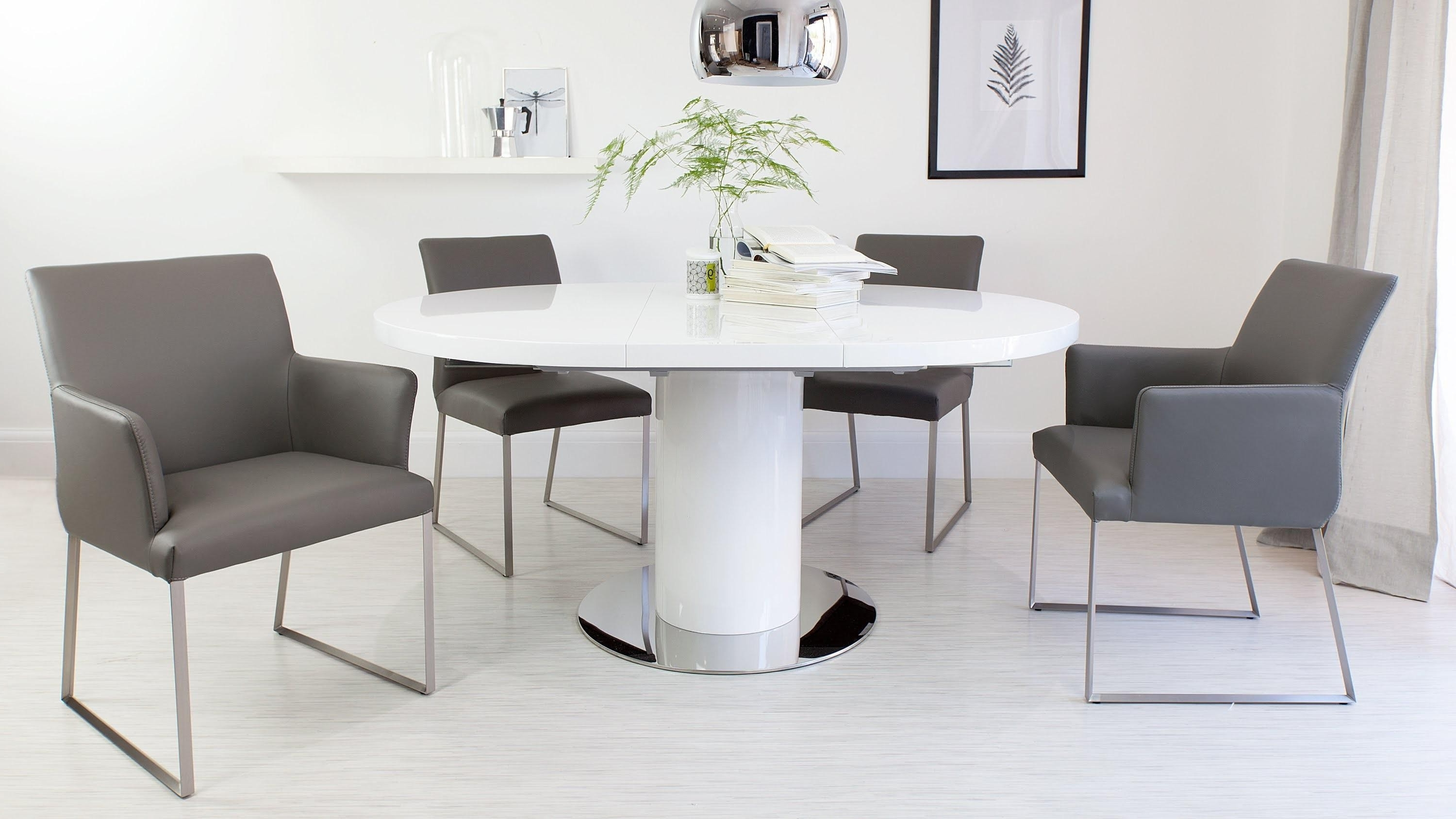 White High Gloss Extending Dining Table New Regarding Preferred Small