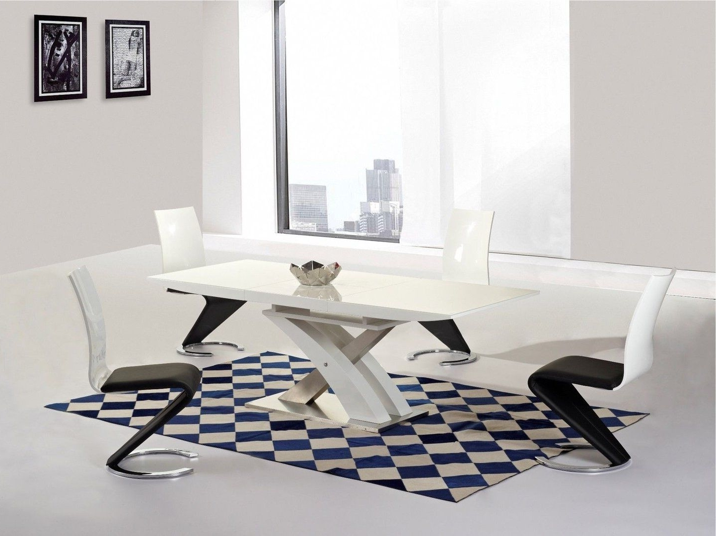 White High Gloss Glass Extending Dining Table & 8 Chairs Set (View 24 of 25)