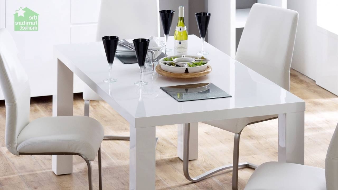 White High Gloss Rectangular 6 Seater Dining Table – Youtube Inside Most Popular High Gloss White Dining Tables And Chairs (View 15 of 25)