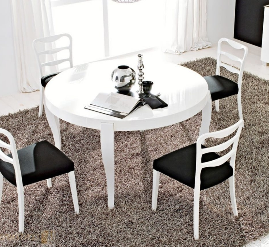 White Lacquer Teak Wood Dining Table Using Black Glass Top Placed On In Most Recently Released Cream Lacquer Dining Tables (View 8 of 25)