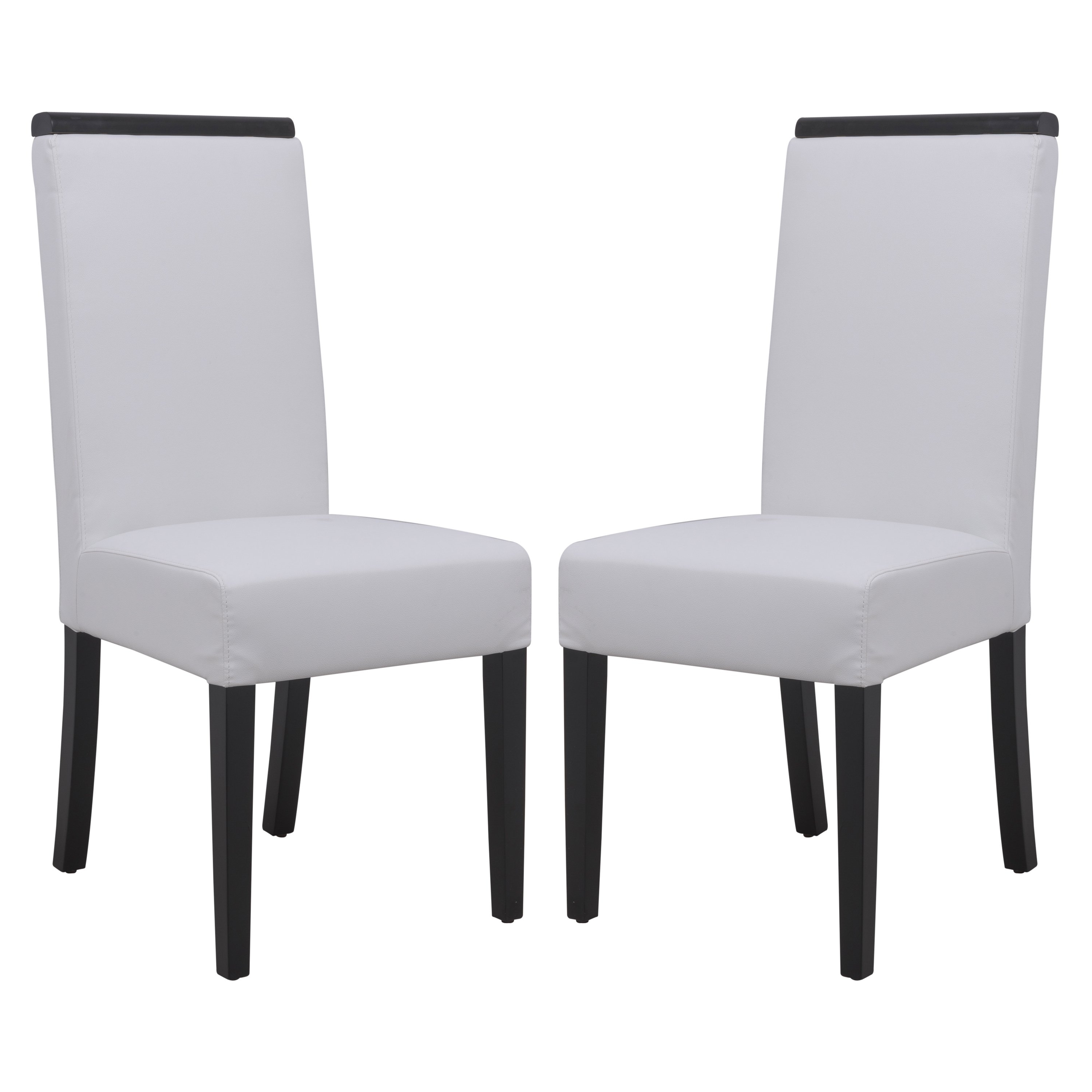 White Leather Dining Chairs For Widely Used Shop Leisuremod Elroy White Faux Leather Dining Chair (Set Of  (View 19 of 25)