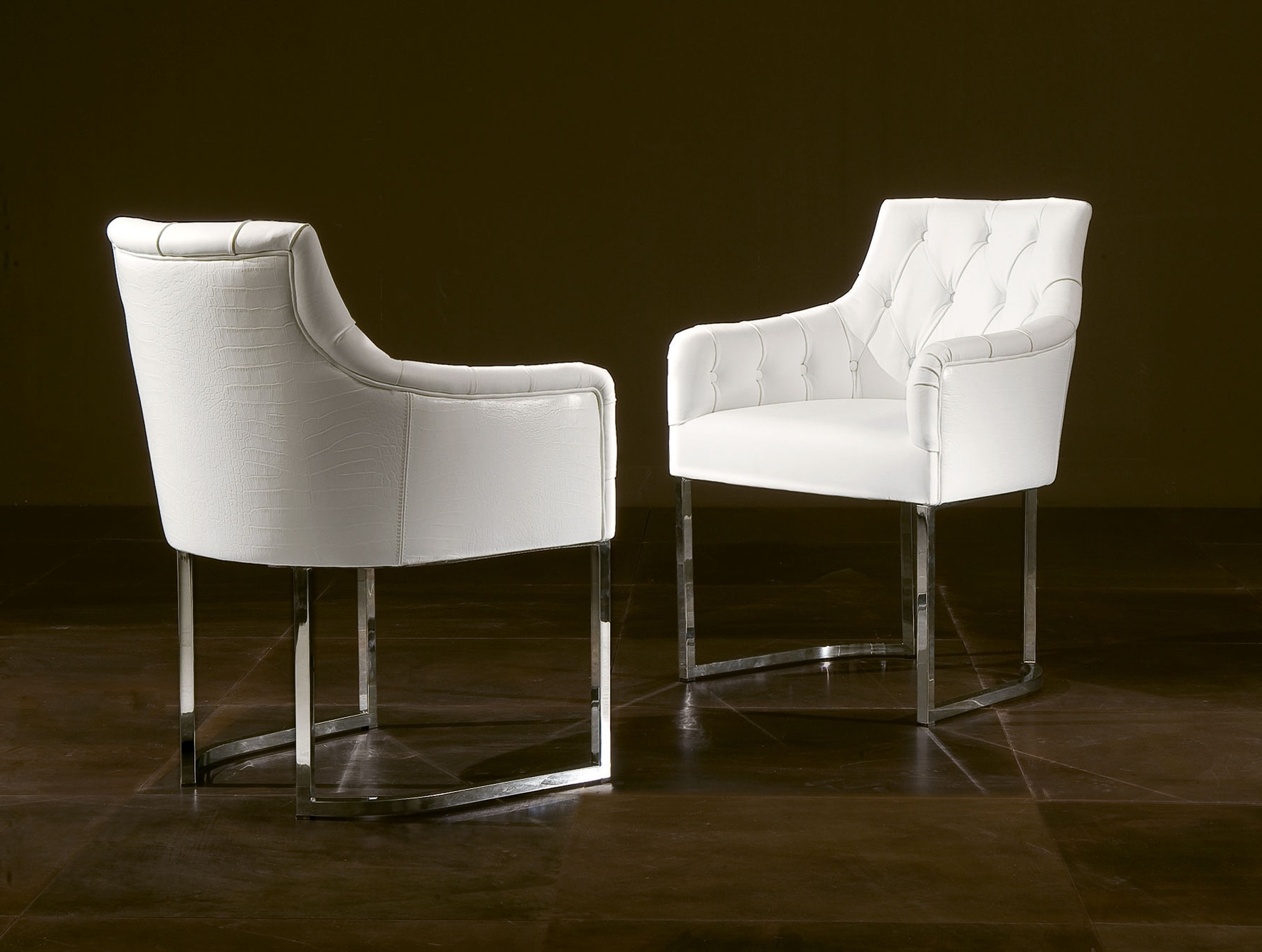 White Leather Dining Chairs Throughout Widely Used Nella Vetrina Rugiano Guendalina 5032 Dining Armchair White Leather (View 22 of 25)