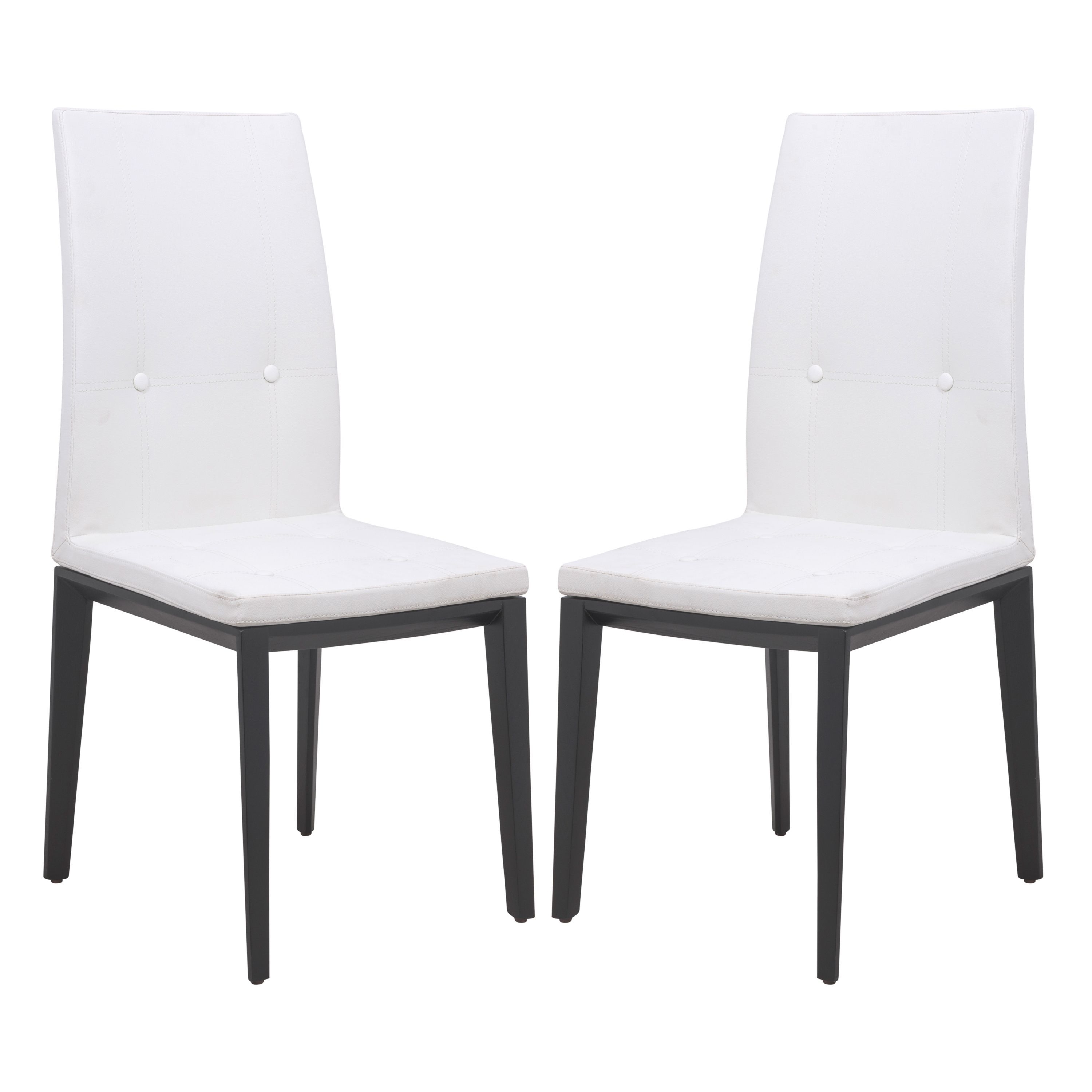 White Leather Dining Room Chairs Within Famous Leisuremod Somers White Faux Leather Dining Chair (Set Of 2) (Dining (View 13 of 25)