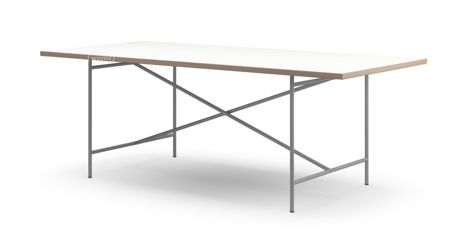 White Melamine Dining Tables For Most Current Richard Lampert Eiermann 2 Dining Table, White Melamine With Oak (View 5 of 25)
