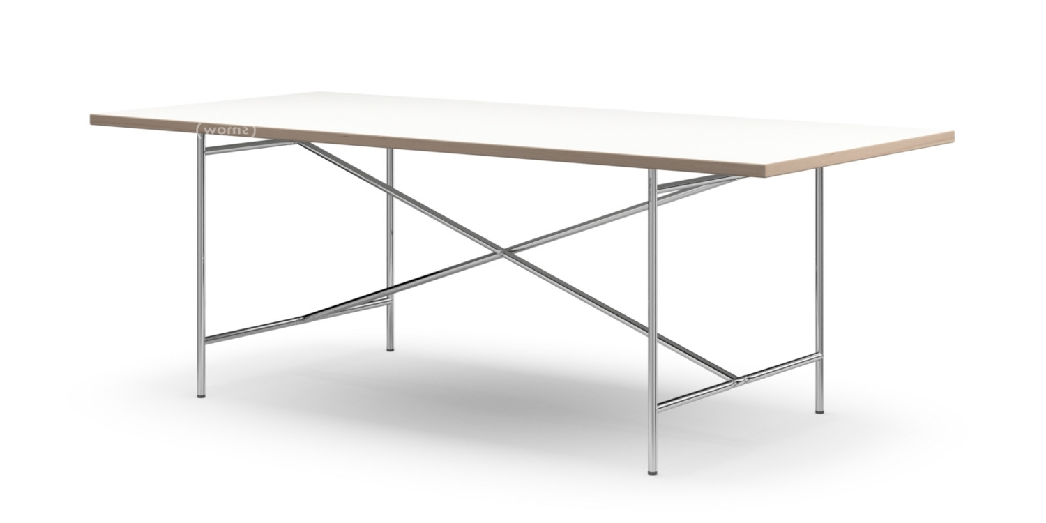White Melamine Dining Tables In Current Richard Lampert Eiermann 2 Dining Table, White Melamine With Oak (View 2 of 25)