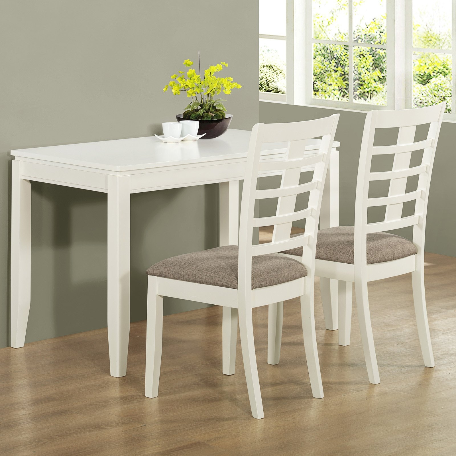 White Melamine Dining Tables Intended For Trendy White Melamine Finished Mahogany Wood Dining Set With Grey Velvet (View 10 of 25)