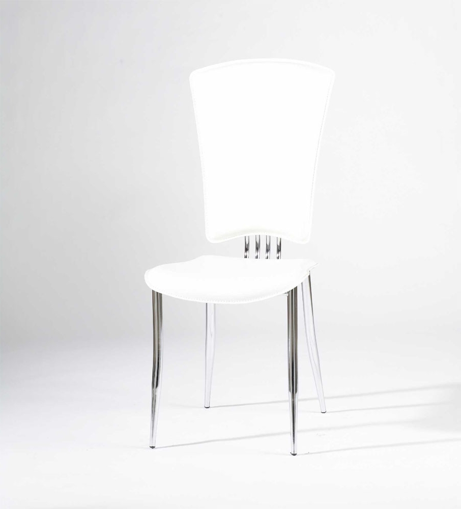 White Or Black Leather Dining Chairs With Chrome Legs And High Back Regarding Most Recent White Leather Dining Chairs (View 24 of 25)