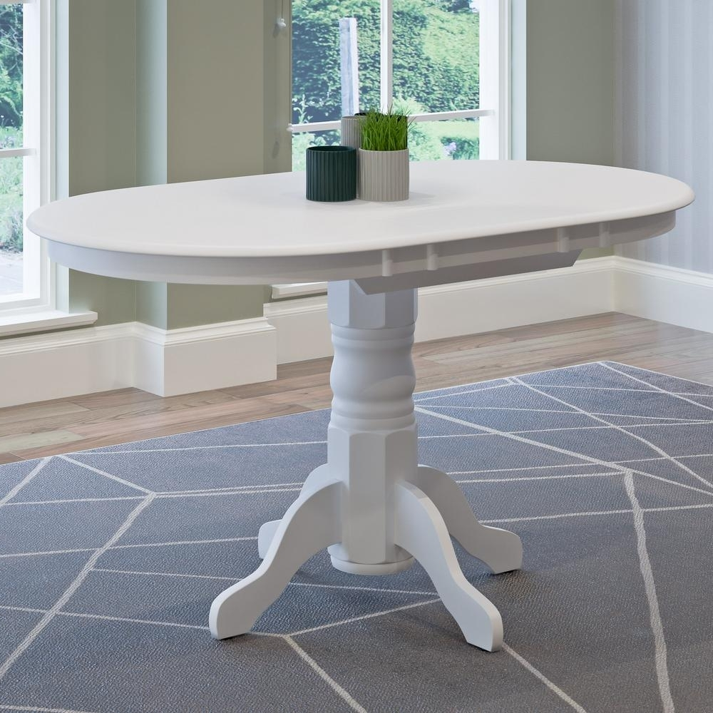 White Oval Extending Dining Tables With Regard To Well Known Corliving Dillon White Wood Extendable Oval Pedestal Dining Table (View 24 of 25)